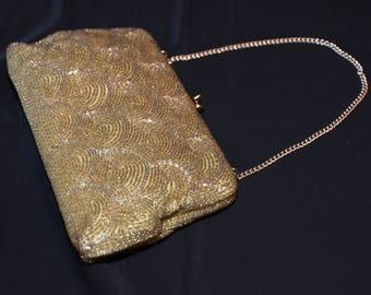 RESERVED Vintage Handbag, Gorgeous Gold Tone Beaded Handbag, Vintage Purse, made in Japan, Artel MFG.CO, Montreal, Wedding Purse, 1950s