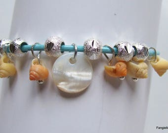 Blue bracelet, shells, mother of Pearl and pretty silver beads