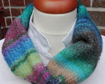 Loop, circle scarf, hand-woven, Snood, wool, hand made, gift Rainbow scarf, autumn, winter