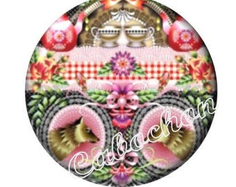 1 illustrated cabochon 30mm glass cabochon image animals, multicolored