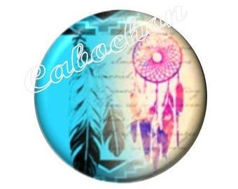 2 cabochons 18 mm glass, Dreamcatchers, feathers, Dreamcatcher