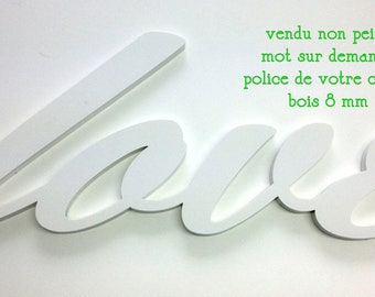 Word 55 cm x 15 cm wood clear 6 mm