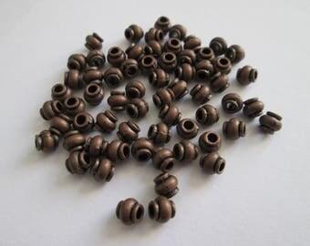 60 Perles petit tonneau métal cuivré 4 mm
