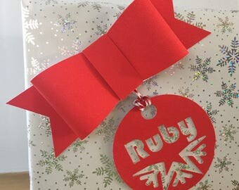 Glitter Bow - Gift Wrapping - Christmas Present - pack of 2