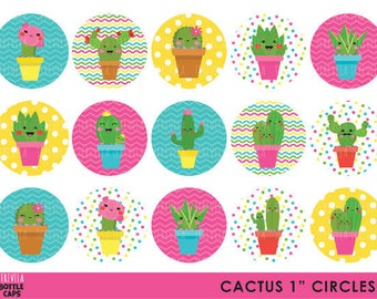 "50% SALE CACTUS Bottle Cap, Image Party, Circles Birthday Party, 1"" circule,  Printable,  cute images"