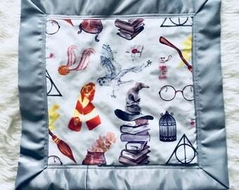 Harry Potter Satin Edge Lovey with Velvet Backing, Minky, Plush, Security Blanket