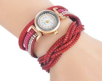 x 1 shows red Pu leather bracelet Multi row pattern rhinestones/metal gold 39 cm