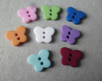 x 10 mixed Butterfly shape buttons 2 hole resin 14 x 11 mm