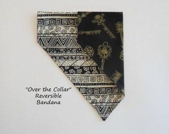 "Pet Bandana ""Black and Tan meets Skeleton Key"", Over the Collar Pet Bandana, Slide on Bandana, Reversible Bandana, Dog Bandana, Cat Bandana"