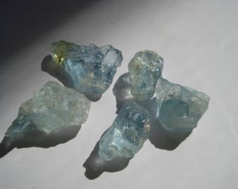 5 Rough Raw Blue Aquamarines - 7 Ct Blue Aquamarines Lot MG889