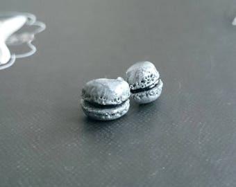 Macaron Stud Earrings in black and silver polymer clay