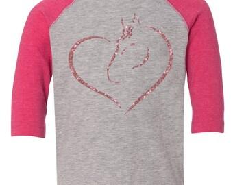 Horse and Heart love Baseball Raglan, Horse Lover, Gift for Horse Lover, Valentines Day Gift, Youth Valentines  Shirt, Heart, Valentines