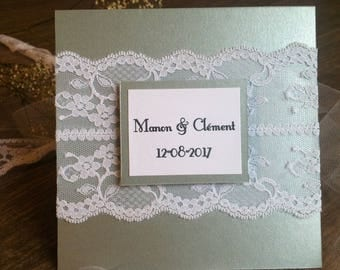 Silver grey custom wedding invitation and lace
