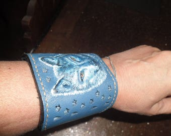 "Bracelet of leather ""Blue Wolf"""