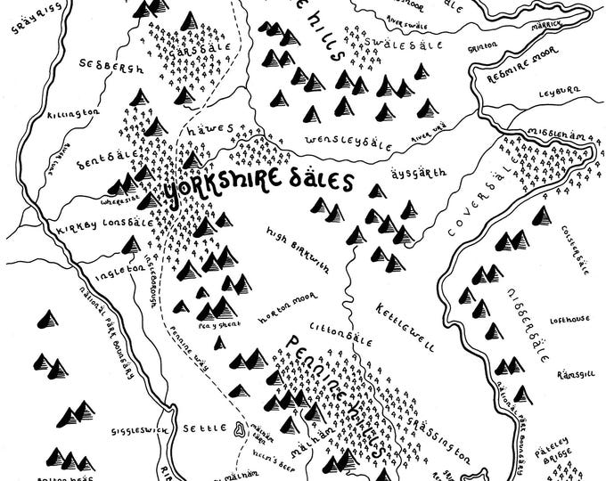 The Yorkshire Dales National Park - Bespoke Hand Drawn Map