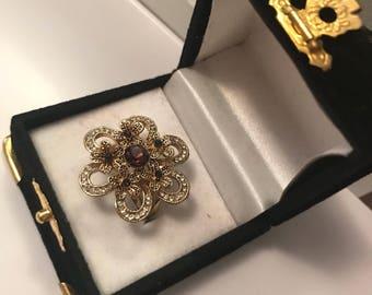 Purple flower shaped ring