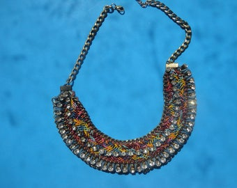 vintage bib necklace with two rolls of rinestones