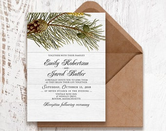 Winter Forest Wedding Invitation Printable Pine Tree Christmas Wedding Invitation Rustic Wood Wedding Invitation Woodland Wedding Invitation