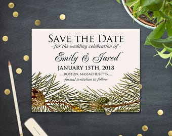 Winter Forest Save the Date Cards Wedding Save the Date Template Printable Wedding Announcement Cards Rustic PineTree Pinecones Editable PDF