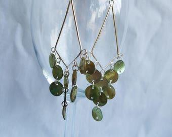 Green Shell Chandelier Earrings
