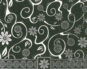2 flower black/white (251) paper napkins