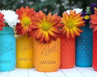 Orange, turquoise and blue. Table Decor, fall painted jars, turquoise, orange, yellow, brown, red, coral, cream jars, choose 3.