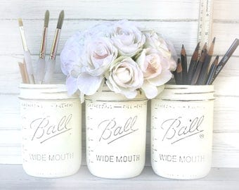 Desk storage accessory painted distressed mason jar office storage. White jars, chalk paint white desk, pen paint brush storage, office jar