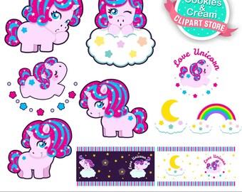 Unicorn Clipart,  Unicorn Printable, rainbow, clipart illustration, INSTANT DOWNLOAD, kawaii unicorn clipart, unicorn art, unicorn digital