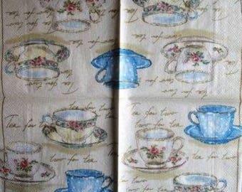 TOWEL in paper cups of tea variety #AL002