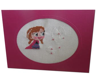 "Embroidered magical card ""Anna, sister of the Queen of snow"""