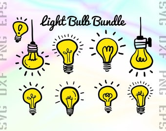 Light Bulb SVG Files - Light Bulb Clipart - Light Bulb Dxf Files - Light Bulb Cut Files - Light Cricut Files - Light Png - Svg, Dxf, Png