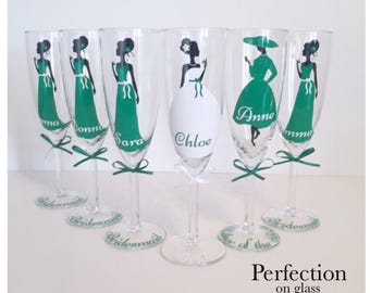 Personalized, Champagne, Glasses, Dresses, Names, Bridal Party, Bride, Wedding Shower, Engagement Gift,