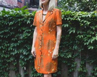 90's Burnt Orange Jungle Dress Size 6 / Green Leafy Short Sleeve V-neck Long Button Up Dress