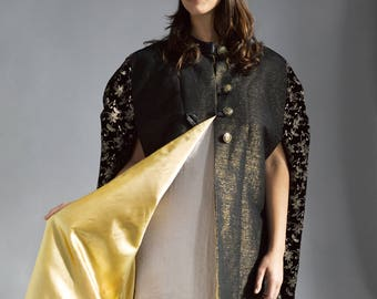Black and Gold Metallic Cotton Cape with Leather trim and patterned velvet