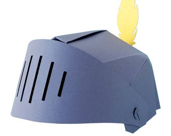 Knight's helmet made of grey paper with adjustable visor and golden feather