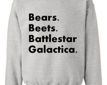 Bears Beets Battlestar Galactica Sweatshirt Crew Neck