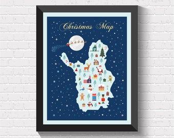 Christmas Map, Christmas Decor, Christmas Card, Christmas Poster, Christmas Wall Art, Christmas Gift,  Christmas Print, Christmas, New Year