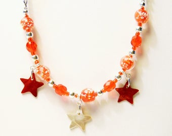 """Necklace """"Abalone stars"""" mother of Pearl, glass, anodized aluminum"""