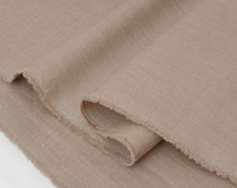 Fabric linen dobby silky color taupe x 50cm