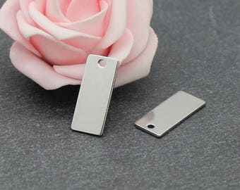 4 rectangle pendants 21 x 9 mm BR587 stainless steel