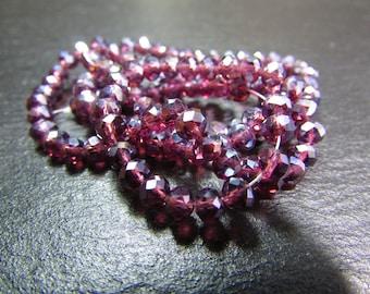 set of 30 4 mm iridescent purple Crystal beads