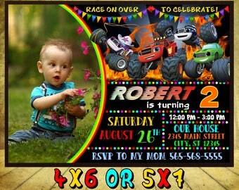 Blaze and the Monster Machines Invitation, Blaze and the Monster Machines Birthday, Blaze Party, Monster Truck Invites, Truck Printables