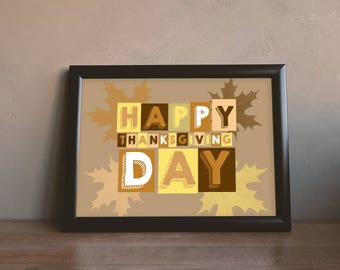 """Happy Thanksgiving. """"Happy Thanksgiving"""" digital print. Color printing in various formats. Instant Download. Digital Art Posters"""