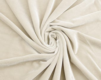 Grace IVORY Stretch Velvet Fabric by the Yard - Style 5000