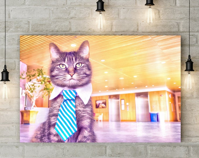 The Adventures of Business Cat, Cat businessman, Pet, Cute, USA Poster, canvas, Interior decor, room design, print poster, art picture, gift