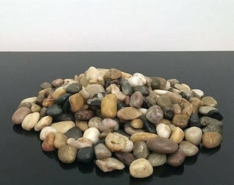 1kg of Assorted Small Natural Browns Decorative Stones Pebbles Table Decoration Vase Garden Craft River Rocks Polished Smooth Vase Fillers
