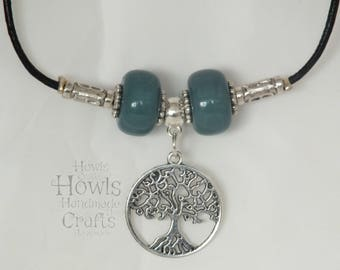 Handmade Tree of Life and Green Bead Necklace