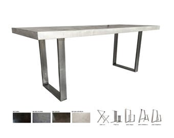 Polished concrete foot steel table