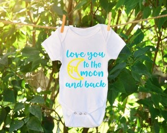 To the Moon and Back Onesie, To the Moon and Back, Baby Shower Onesie, Gender neutral onesie, Gender neutral baby shower, Custom Onesie