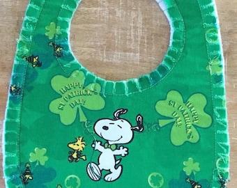 St. Patty's Day Bib, Snoopy Bib, St. Patrick's Day Bib, Baby Bib, Four Leaf Clover Bib, Irish Bib